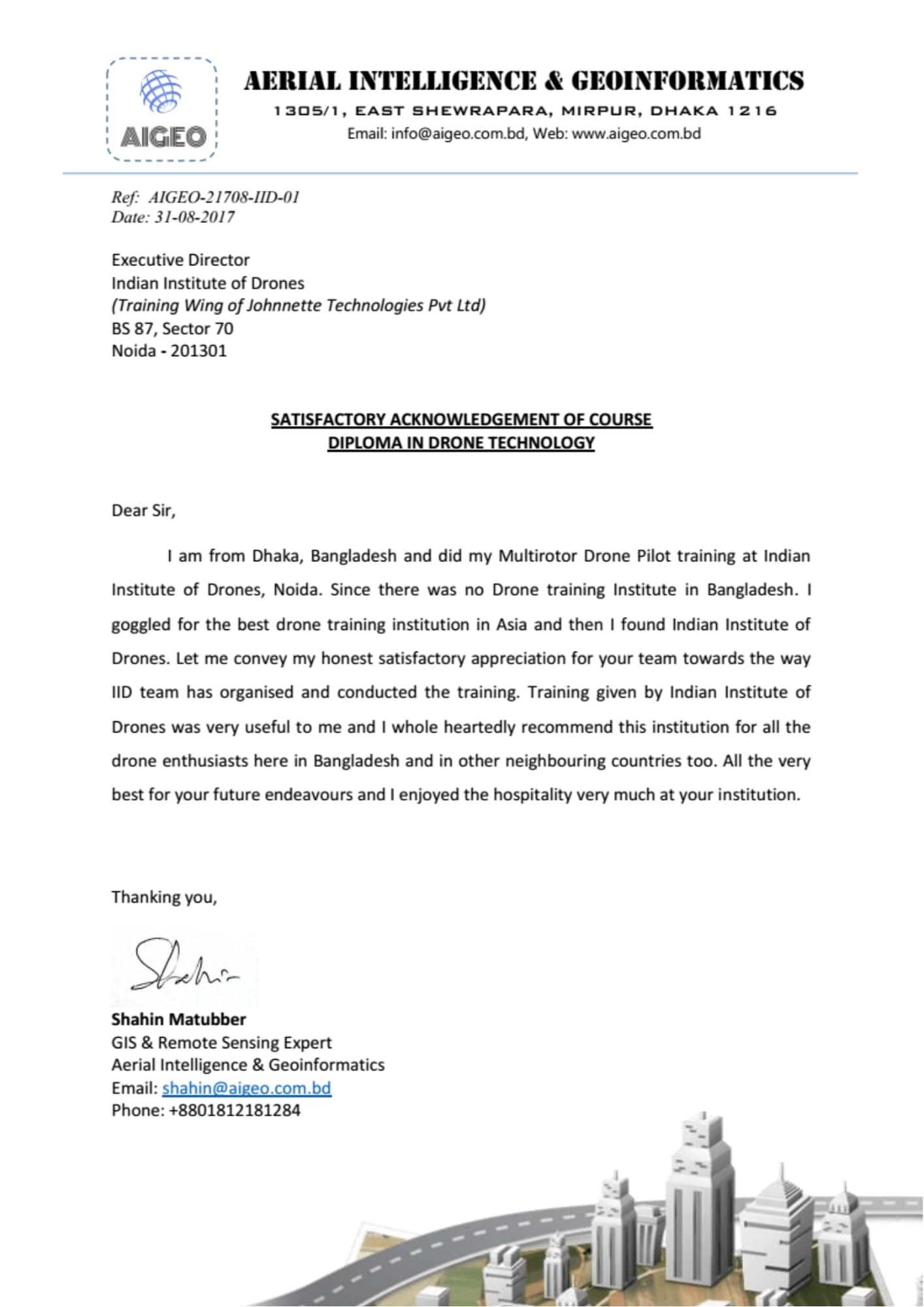 Satisfactory Letter from AIGEO Bangladesh