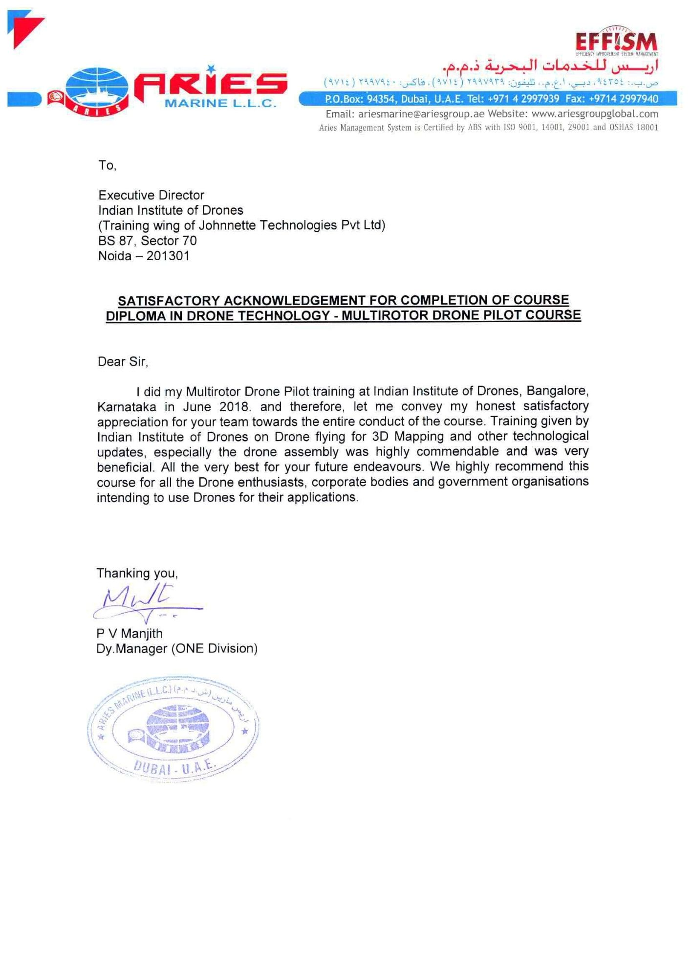 Satisfactory Letter for Drone Training Received from Aeries Marine, U.A.E