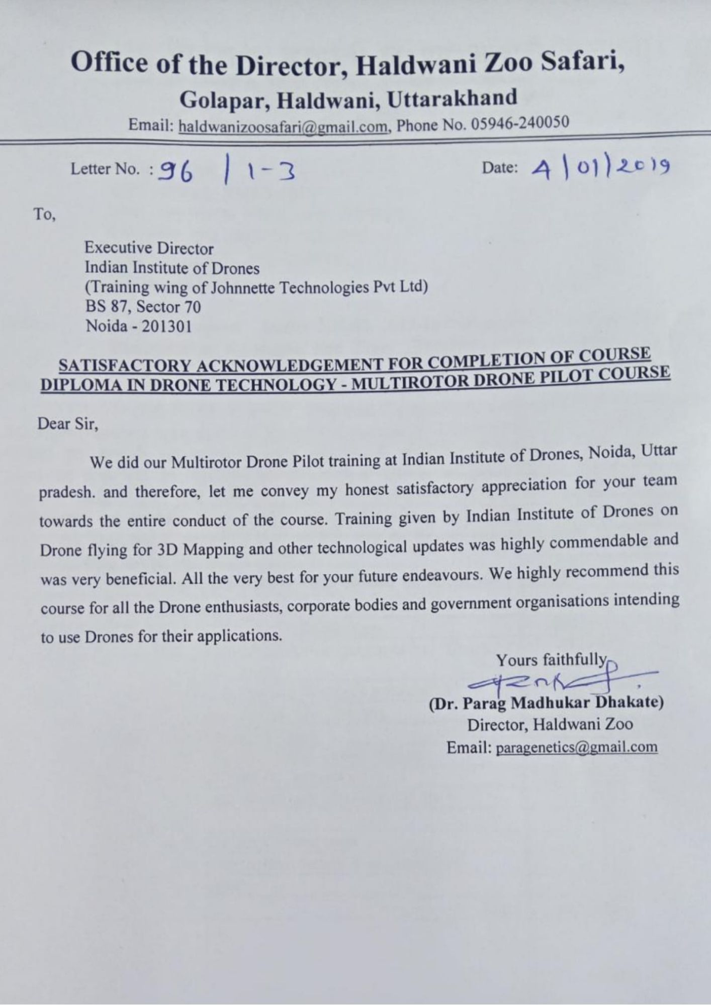 Satisfactory Letter for Drone Training Received from Haldwani Zoo Safari