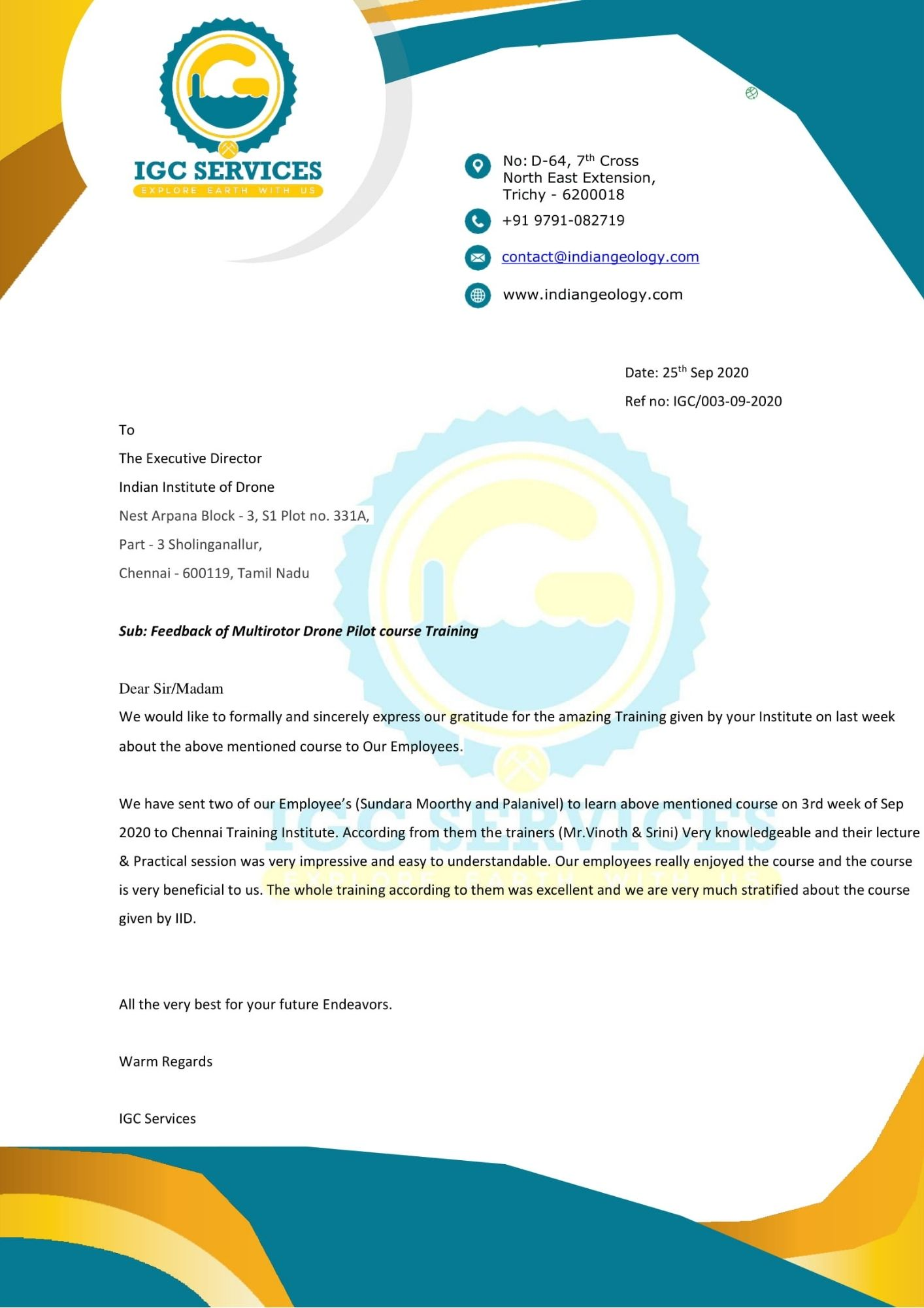 Satisfactory Letter for Drone Training Received from IGC Services