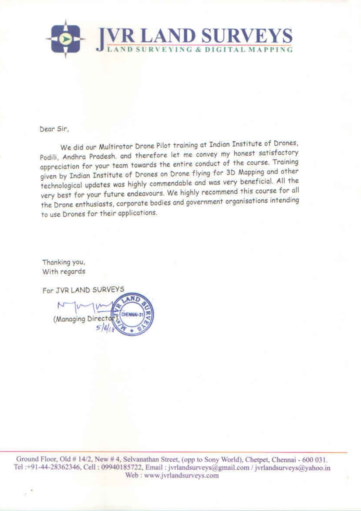 Satisfactory Letter for Drone Training Received from JVR Land Surveys