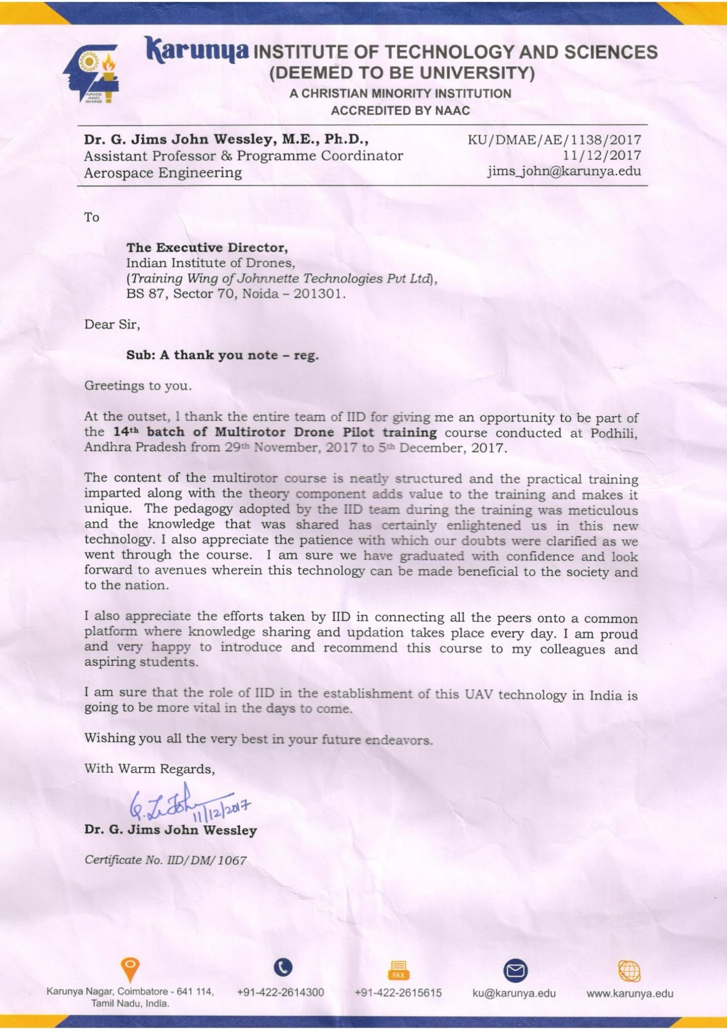 Satisfactory Letter for Drone Training Received from Karunya Institute of Technology and Sciences