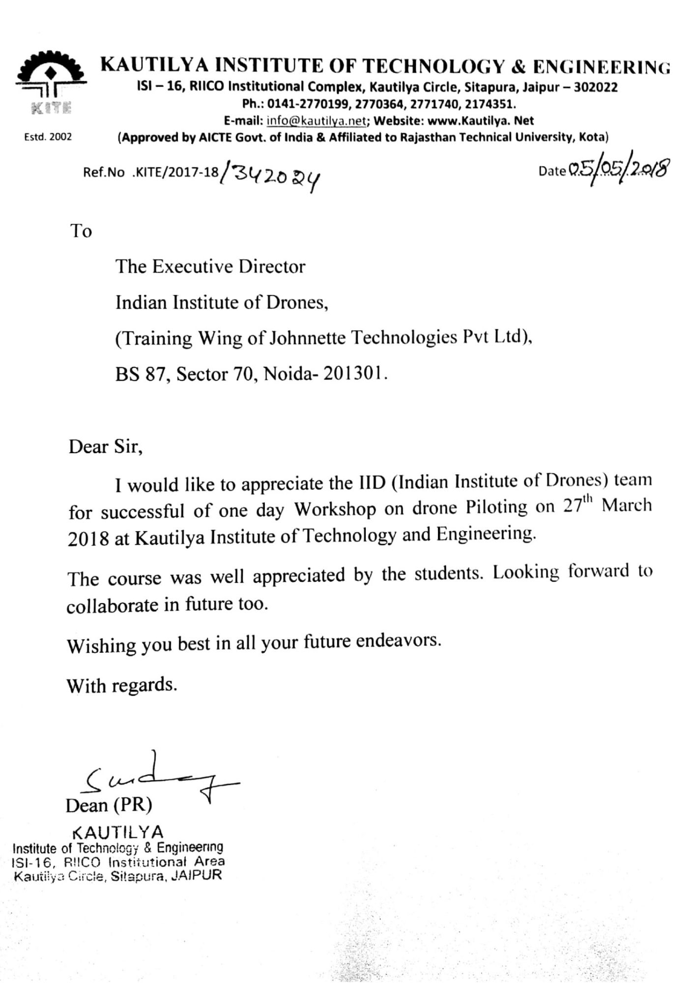 Satisfactory Letter for Drone Training Received from Kautilya Institute of Technology and Engineering