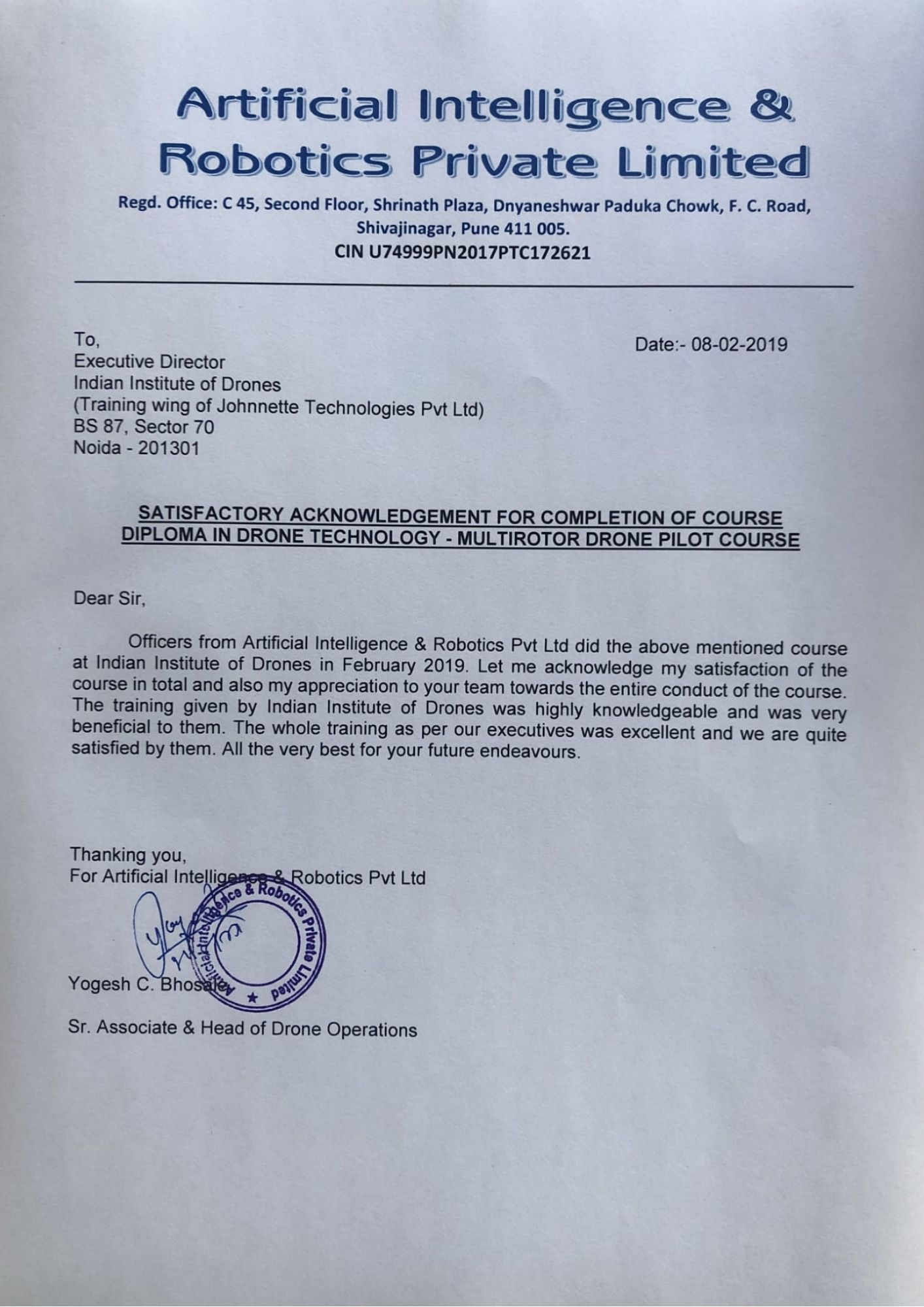 Satisfactory Letter for Drone Training Received from Artifical Intelligence and Robotics Pvt Ltd