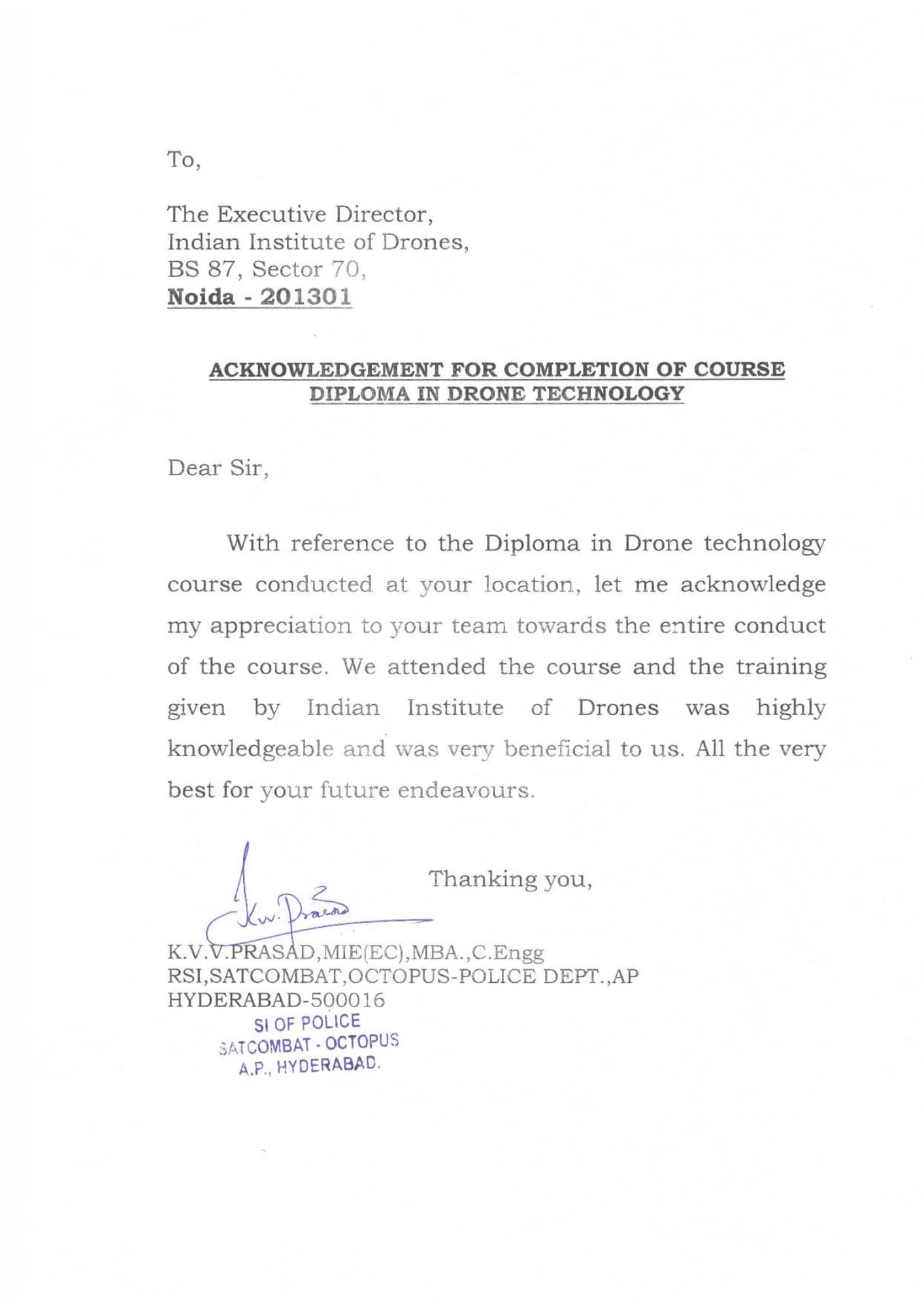Satisfactory Letter for Drone Training Received from Octopus, Andhra Pradesh Police